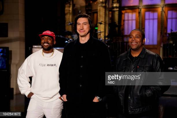 """Adam Driver"""" Episode 1747 -- Pictured: Musical Guest Kanye West, Host Adam Driver, Kenan Thompson in Studio 8H during a promo --"""