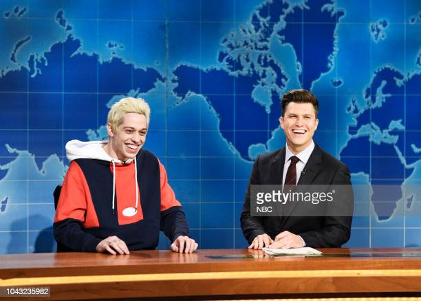 LIVE Adam Driver Episode 1747 Pictured Pete Davidson Colin Jost during Weekend Update in Studio 8H on Saturday September 29 2018
