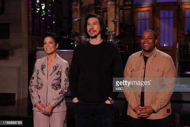 "Adam Driver"" Episode 1778 -- Pictured: Musical guest Halsey, host Adam Driver, and Kenan Thompson during Promos in Studio 8H on Thursday, January 23,..."