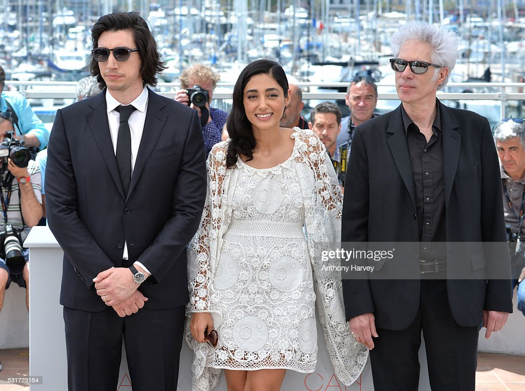 Adam Driver, Golshifteh Farahani and director Jim Jarmusch attend the 'Paterson' photocall during the 69th annual Cannes Film Festival at the Palais des Festivals on May 16, 2016 in Cannes, France.