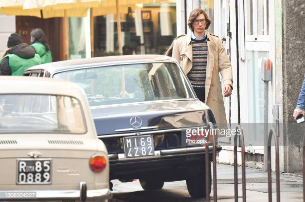 """Adam Driver is seen filming """"House of Gucci"""" movie on March 10, 2021 in Milan, Italy."""