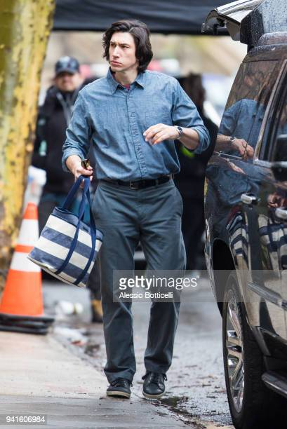 Adam Driver is seen filming 'Untitled Noah Baumbach' project on April 3 2018 in New York New York