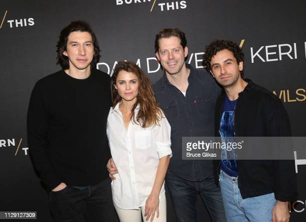 Adam Driver Keri Russell David Furr and Brandon Uranowitz pose at a photo call for the revival of the Lanford Wilson play Burn This at The New 42nd...