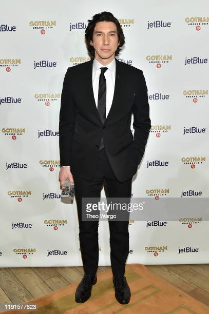 Adam Driver poses with an award backstage during the IFP's 29th Annual Gotham Independent Film Awards at Cipriani Wall Street on December 02, 2019 in...