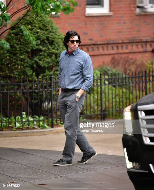 Adam Driver seen on location for untitled Noah Baumbach project in Brooklyn on April 3 2018 in New York City