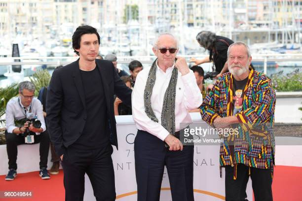Adam Driver Stellan Skarsgard and director Terry Gilliam attend the photocall for the 'The Man Who Killed Don Quixote' during the 71st annual Cannes...