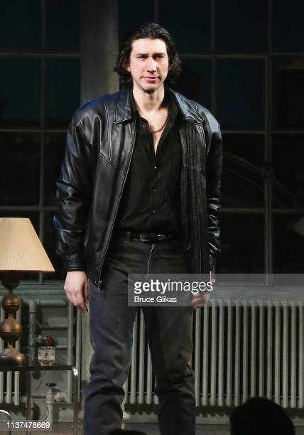 Adam Driver takes the opening night curtain call in the play Burn This on Broadway at The Hudson Theatre on April 15 2019 in New York City