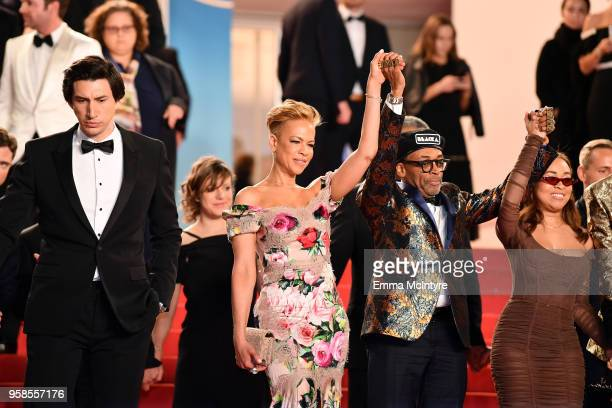 Adam Driver Tonya Lewis Lee Director Spike Lee and Satchel Lee depart the screening of 'BlacKkKlansman' during the 71st annual Cannes Film Festival...
