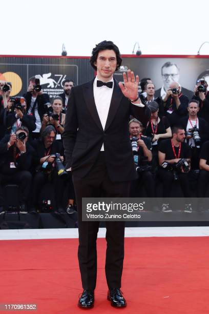 Adam Driver walks the red carpet ahead of the Marriage Story screening during during the 76th Venice Film Festival at Sala Grande on August 29 2019...