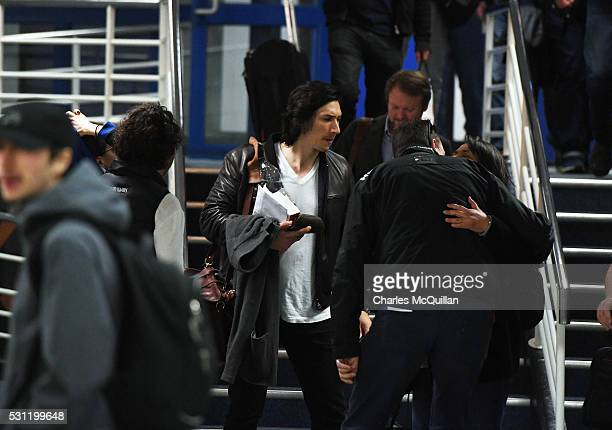 Adam Driver who plays Kylo Ren in the Star Wars series arrives at Belfast International Airport this morning on May 13, 2016 in Belfast, Northern...