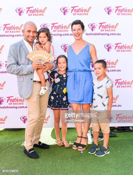 Adam D'Sylva and family Olivia Ava Lauren and Javier D'Sylva at The Common Lawn at South Wharf on February 07 2018 in Melbourne Australia