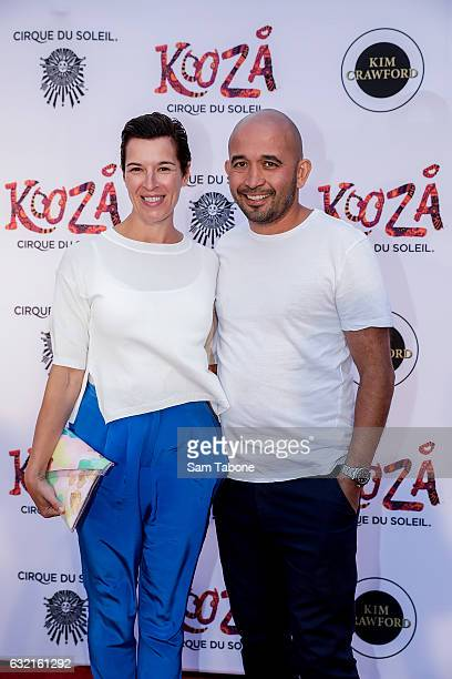 Adam D'Sylva and partner at the Cirque Du Soleil KOOZA Melbourne Premiere at Flemington Racecourse on January 20 2017 in Melbourne Australia