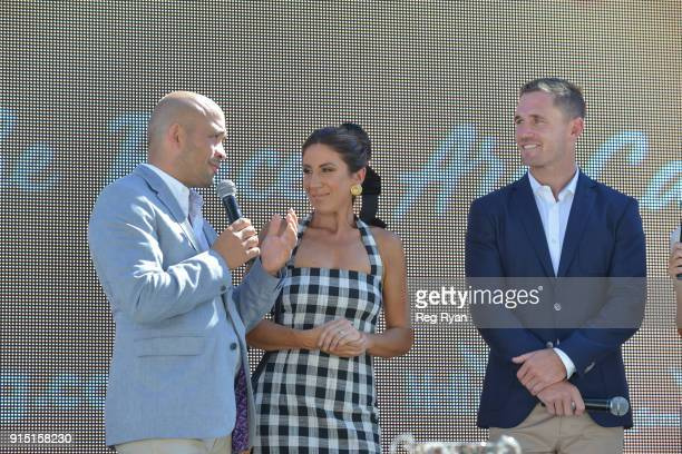 Adam D'Sylva Lana Wilkinson Joel Selwood The Festival of Racing Launch at The Common Lawn at South Wharf on February 07 2018 in Melbourne Australia