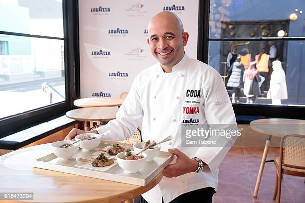 Adam D'Sylva poses in the Lavazza marquee at the Birdcage Enclosure at Flemington Racecourse on October 27 2016 in Melbourne Australia