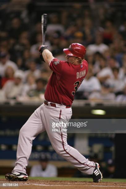 Adam Dunn of the Arizona Diamondbacks bats during the game against the San Diego Padres at Petco Park in San Diego California on August 26 2008 The...