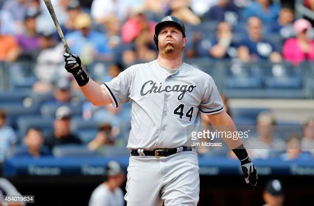 Adam Dunn of the Chicago White Sox reacts after striking out in the third inning against the New York Yankees at Yankee Stadium on August 23 2014 in...