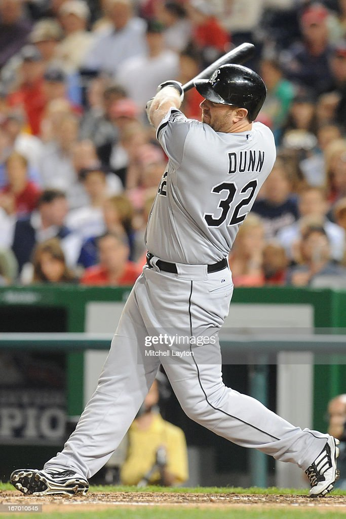 Adam Dunn #32 of the Chicago White Sox takes a swing during a baseball game against the Washington Nationals on April 11, 2013 at Nationals Park in Washington, DC. The Nationals won 7-4.