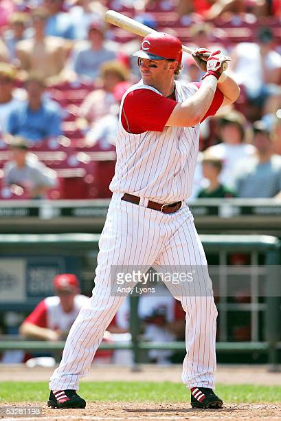 Adam Dunn of the Cincinnati Reds bats against the Milwaukee Brewers on July 24 2005 at Great American Ballpark in Cincinnati Ohio The Reds defeated...
