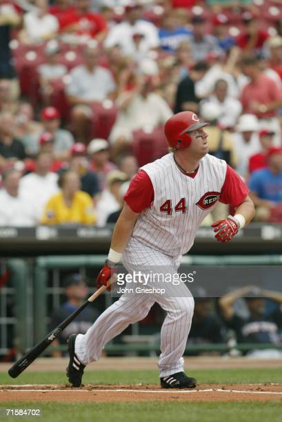 Adam Dunn of the Cincinnati Reds bats during the game against the New York Mets at Great American Ball Park in Cincinnati Ohio on July 20 2006 The...