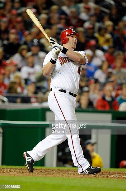 Adam Dunn of the Washington Nationals bats against the Philadelphia Phillies at Nationals Park on September 29 2010 in Washington DC