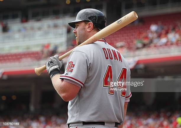 Adam Dunn of the Washington Nationals is pictured during the game against the Cincinnati Reds at Great American Ball Park on July 22 2010 in...