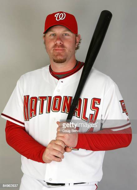 Adam Dunn of the Washington Nationals poses during photo day at Roger Dean Stadium on February 21 2009 in Viera Florida