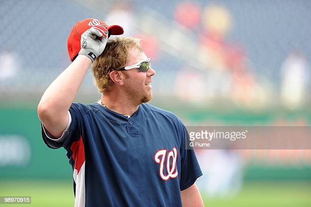 Adam Dunn of the Washington Nationals warms up before the game against the Florida Marlins at Nationals Park on May 7 2010 in Washington DC