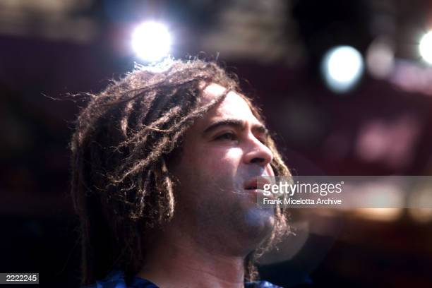 Adam Duritz of the rock band Counting Crows performs on the east stage Saturday at Woodstock '99 in Rome New York at Griffiss AFB Park for the 30th...