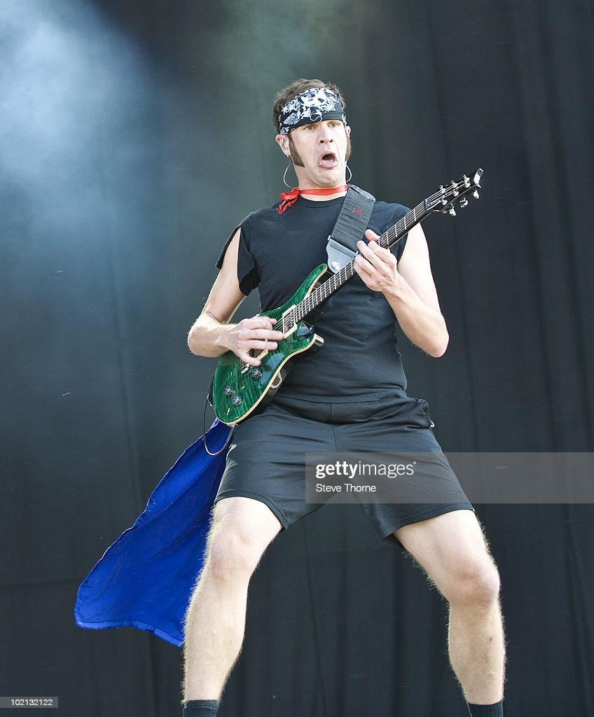 Adam Dutkiewicz of Killswitch Engage performs on stage on the first day of Download Festival at Donington Park on June 11, 2010 in Derby, England.