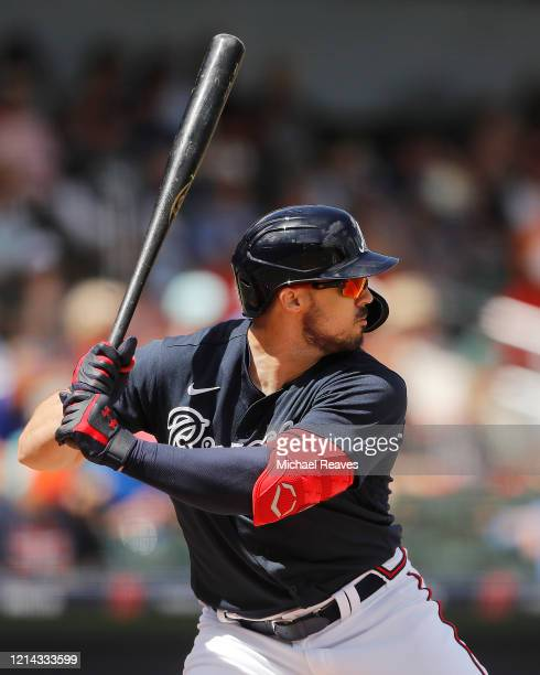 Adam Duvall of the Atlanta Braves in action against the Houston Astros during a Grapefruit League spring training game at CoolToday Park on March 10...