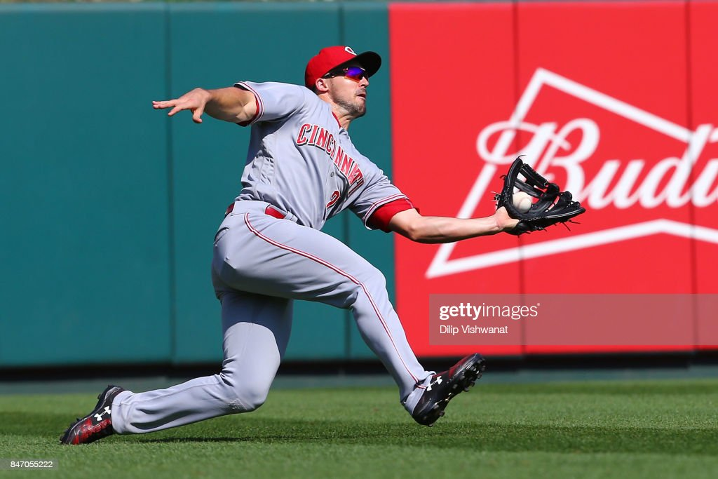 Adam Duvall #23 of the Cincinnati Reds catches a fly ball against the St. Louis Cardinals in the seventh inning at Busch Stadium on September 14, 2017 in St. Louis, Missouri.