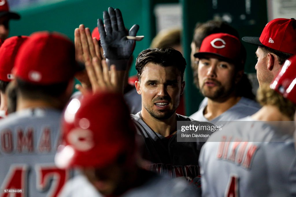 Adam Duvall #23 of the Cincinnati Reds celebrates hitting a grand slam home run in the ninth inning against the Kansas City Royals at Kauffman Stadium on June 13, 2018 in Kansas City, Missouri.