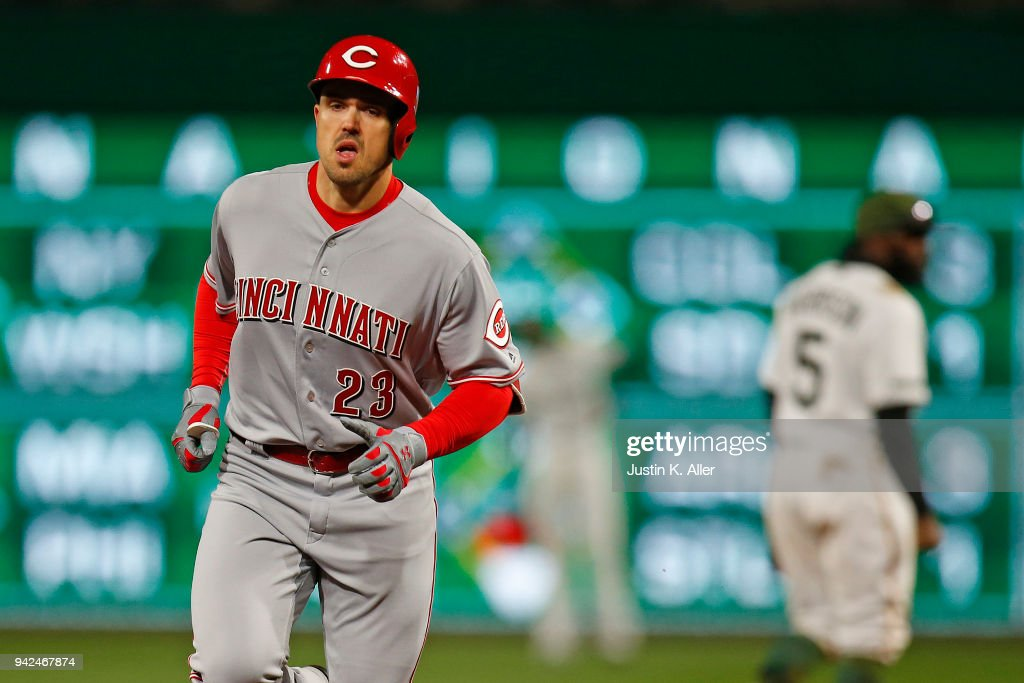 Adam Duvall #23 of the Cincinnati Reds rounds second after hitting a solo home run in the ninth inning against the Pittsburgh Pirates at PNC Park on April 5, 2018 in Pittsburgh, Pennsylvania.