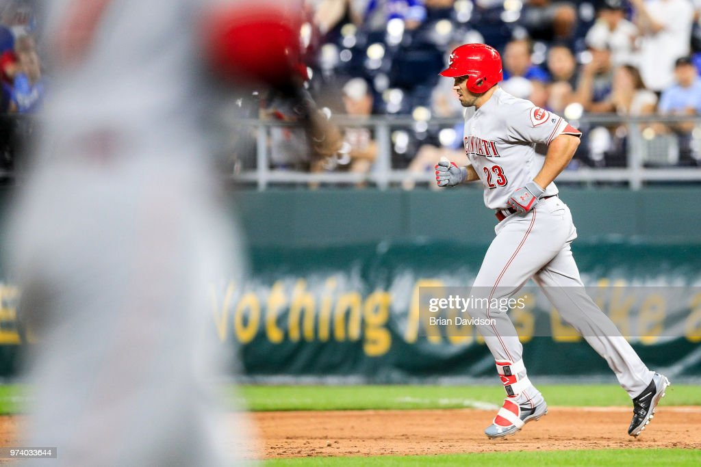 Adam Duvall #23 of the Cincinnati Reds runs the bases after hitting a grand slam home run in the ninth inning at Kauffman Stadium on June 13, 2018 in Kansas City, Missouri.