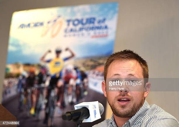 Adam Duvendeck Womens's Race Director speaks at a press conference ahead of the 2015 AMGEN Tour of California Women's Race Empowered by SRAM at the...