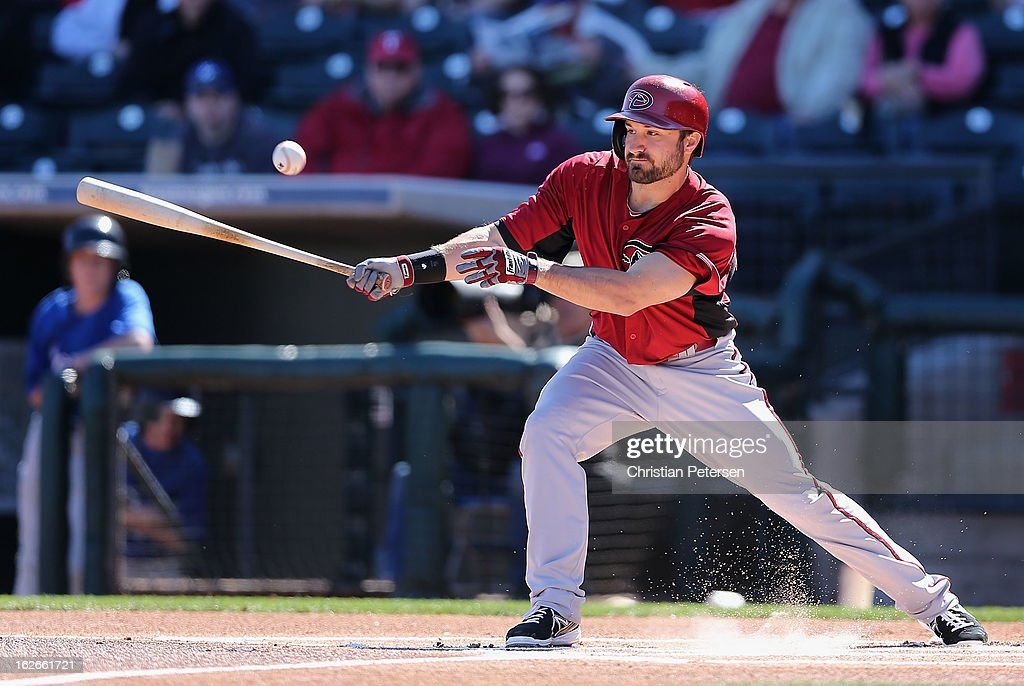 Adam Eaton #6 of the Arizona Diamondbacks bats against the Kansas City Royals during the first inning of the spring training game at Surprise Stadium on February 25, 2013 in Surprise, Arizona.