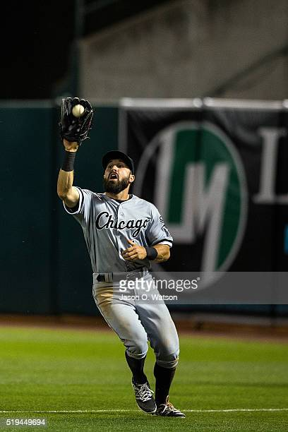 Adam Eaton of the Chicago White Sox catches a fly ball against the Oakland Athletics during the fifth inning at the Oakland Coliseum on April 5 2016...