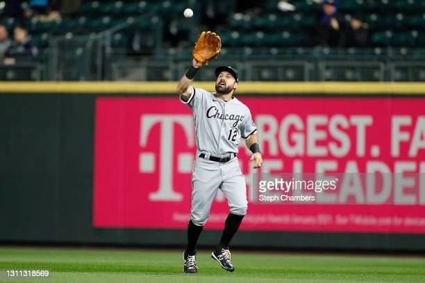 Adam Eaton of the Chicago White Sox catches a fly ball for an out against the Seattle Mariners at T-Mobile Park on April 06, 2021 in Seattle,...