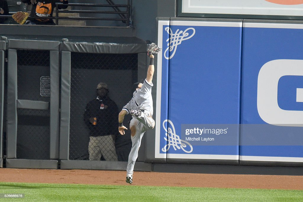 Adam Eaton #1 of the Chicago White Sox catches a fly ball hit by Matt Wieters #32 of the Baltimore Orioles in the ninth inning during a baseball game at Oriole Park at Camden Yards on April 30, 2016 in Baltimore, Maryland. The White Sox won 8-7.