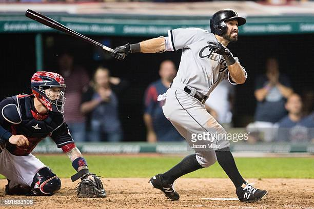 Adam Eaton of the Chicago White Sox hits a grand slam during the ninth inning against the Cleveland Indians at Progressive Field on August 17 2016 in...