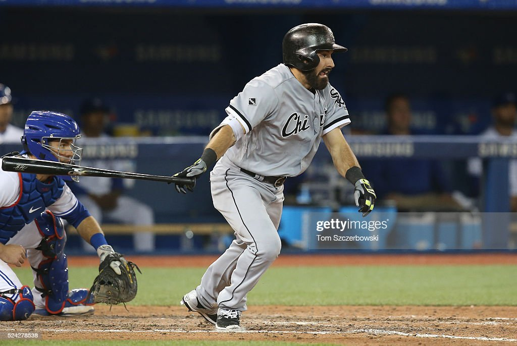 Adam Eaton #1 of the Chicago White Sox hits a two-run single in the seventh inning during MLB game action against the Toronto Blue Jays on April 25, 2016 at Rogers Centre in Toronto, Ontario, Canada.