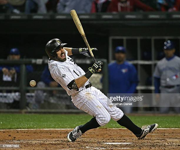 Adam Eaton of the Chicago White Sox is hit by a pitch in the 5th inning at US Cellular Field on July 8 2015 in Chicago Illinois