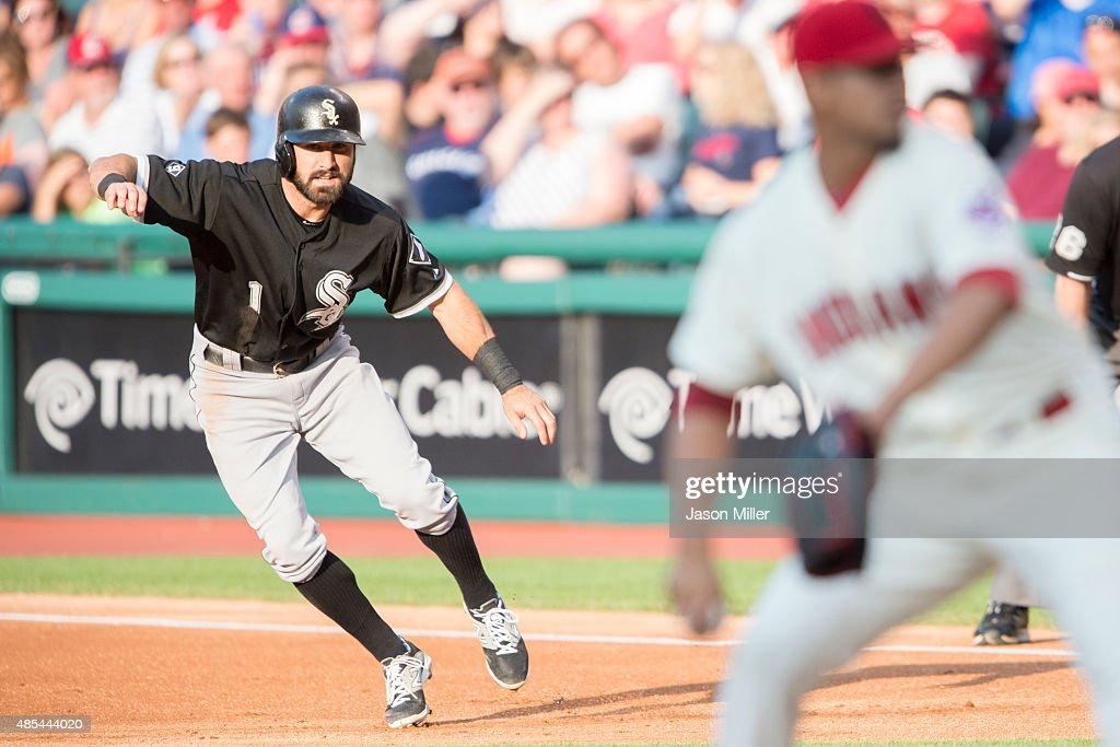Adam Eaton #1 of the Chicago White Sox takes a lead off during the first inning against the Cleveland Indians at Progressive Field on July 25, 2015 in Cleveland, Ohio.