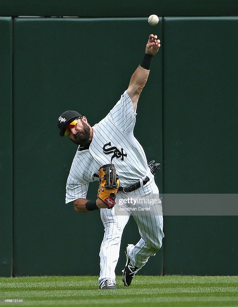 Adam Eaton #1 of the Chicago White Sox throws the ball to the infield against the Minnesota Twins at U.S. Cellular Field on April 12, 2015 in Chicago, Illinois. The White Sox defeated the Twins 6-2.