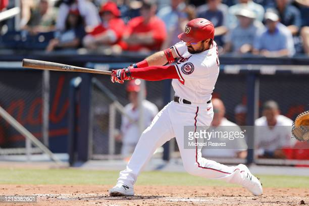Adam Eaton of the Washington Nationals at bat against the New York Yankees during a Grapefruit League spring training game at FITTEAM Ballpark of The...
