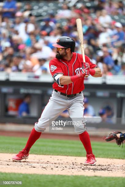 Adam Eaton of the Washington Nationals bats against the New York Mets during their game at Citi Field on July 15 2018 in New York City