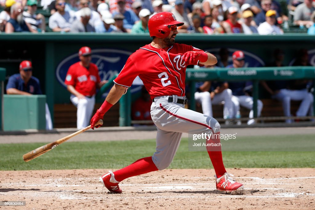 Adam Eaton #2 of the Washington Nationals hits the ball against the Boston Red Sox in the third inning during a spring training game at JetBlue Park on March 30, 2017 in Fort Myers, Florida. The Red Sox defeated the Nationals 8-1.