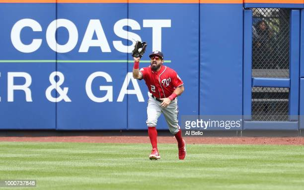 Adam Eaton of the Washington Nationals in action against the New York Mets during their game at Citi Field on July 15 2018 in New York City
