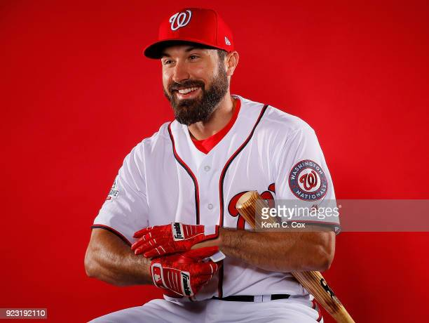 Adam Eaton of the Washington Nationals poses for a photo during photo days at The Ballpark of the Palm Beaches on February 22 2018 in West Palm Beach...