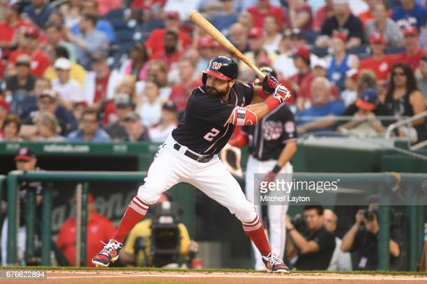 Adam Eaton of the Washington Nationals prepares for pitch during a baseball game against the New York Mets at Nationals Park on April 28 2017 in...